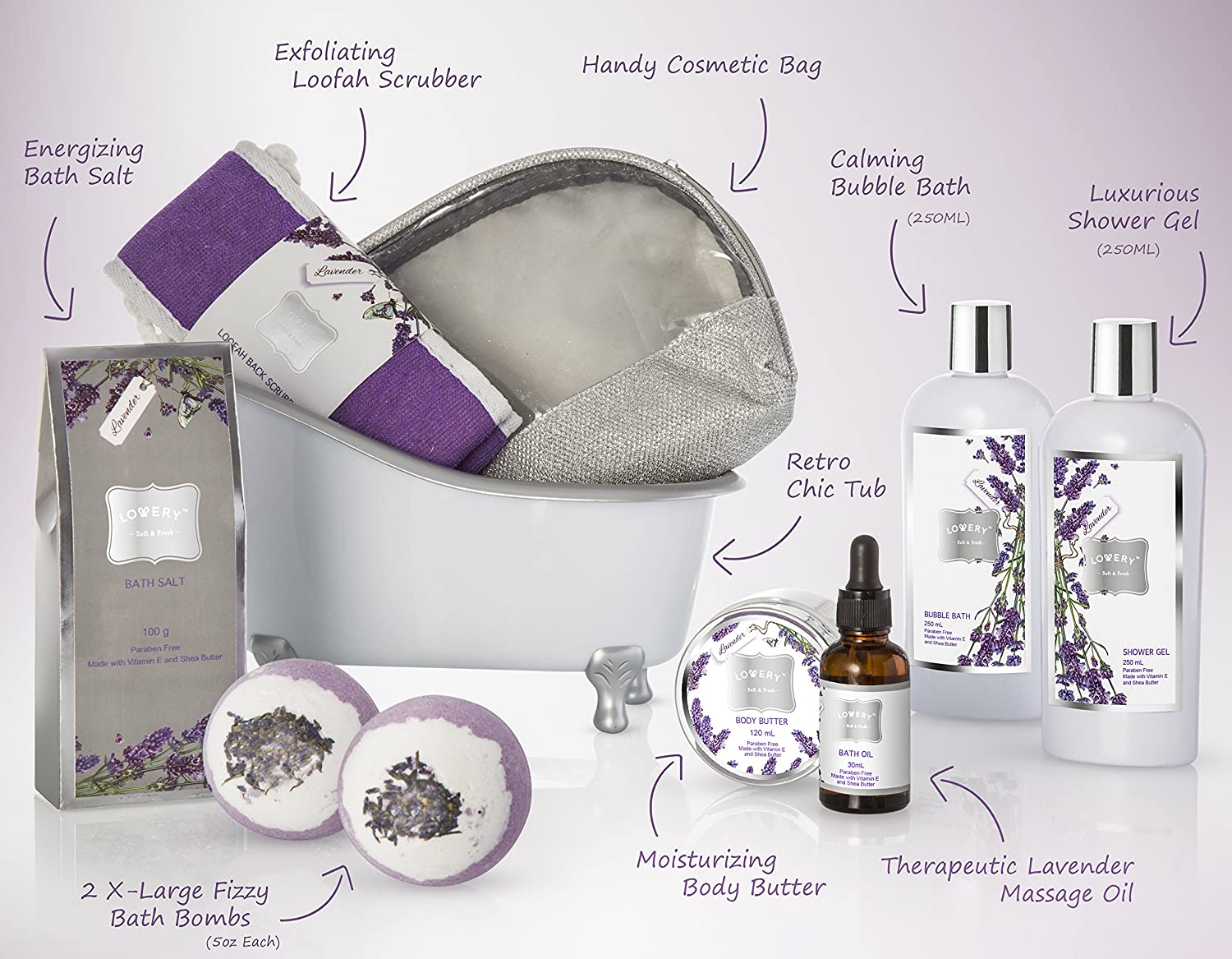Bath Gift Basket Set for Women Relaxing at Home Spa Kit Scented with Lavender and Jasmine – Includes Large Bath Bombs, Salts, Shower Gel, Body Butter Lotion, Bath Oil, Bubble Bath, Loofah and More