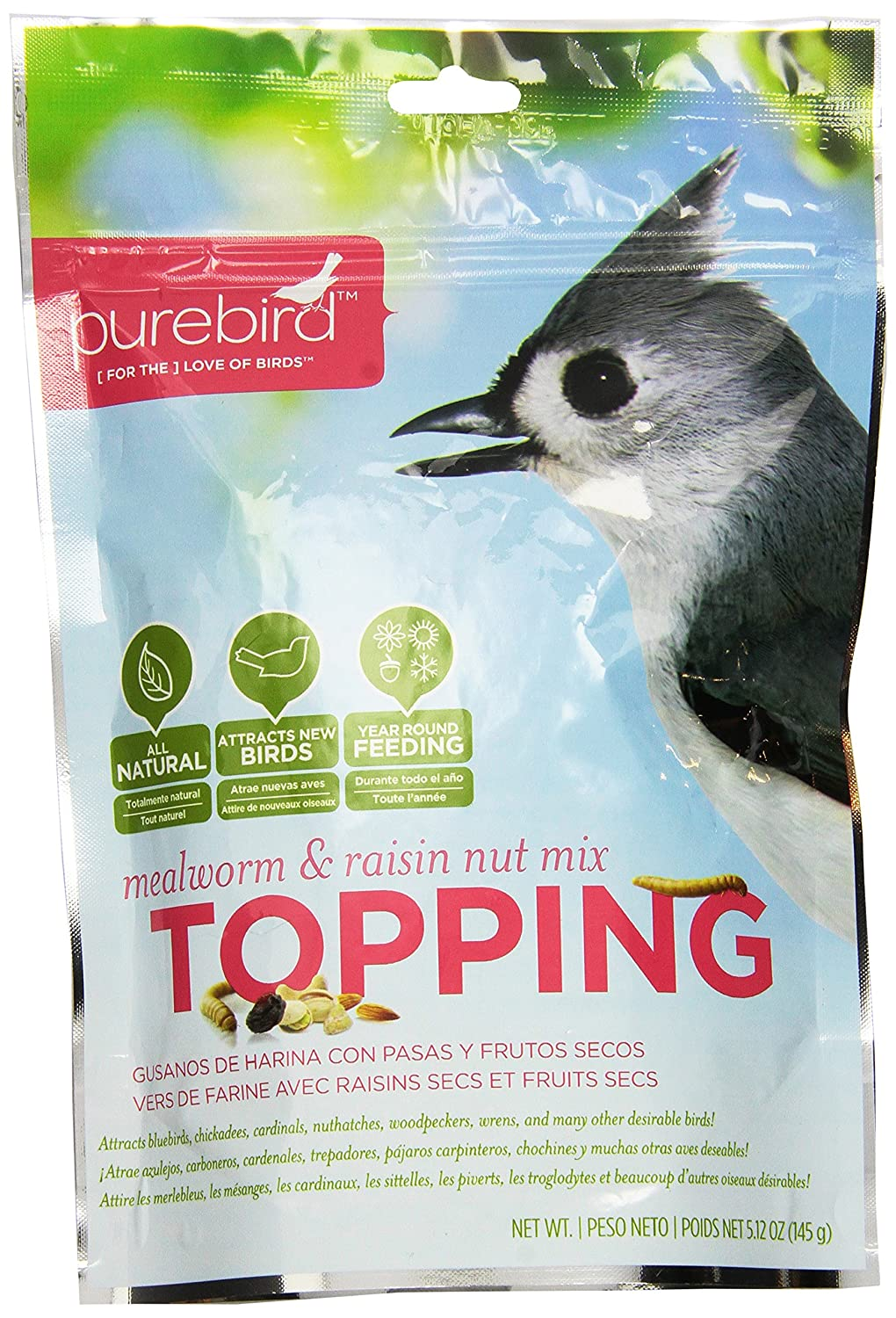 PureBird Mealworm and Raisin Nut Mix Topping for Wild Birds 5.12-Ounce