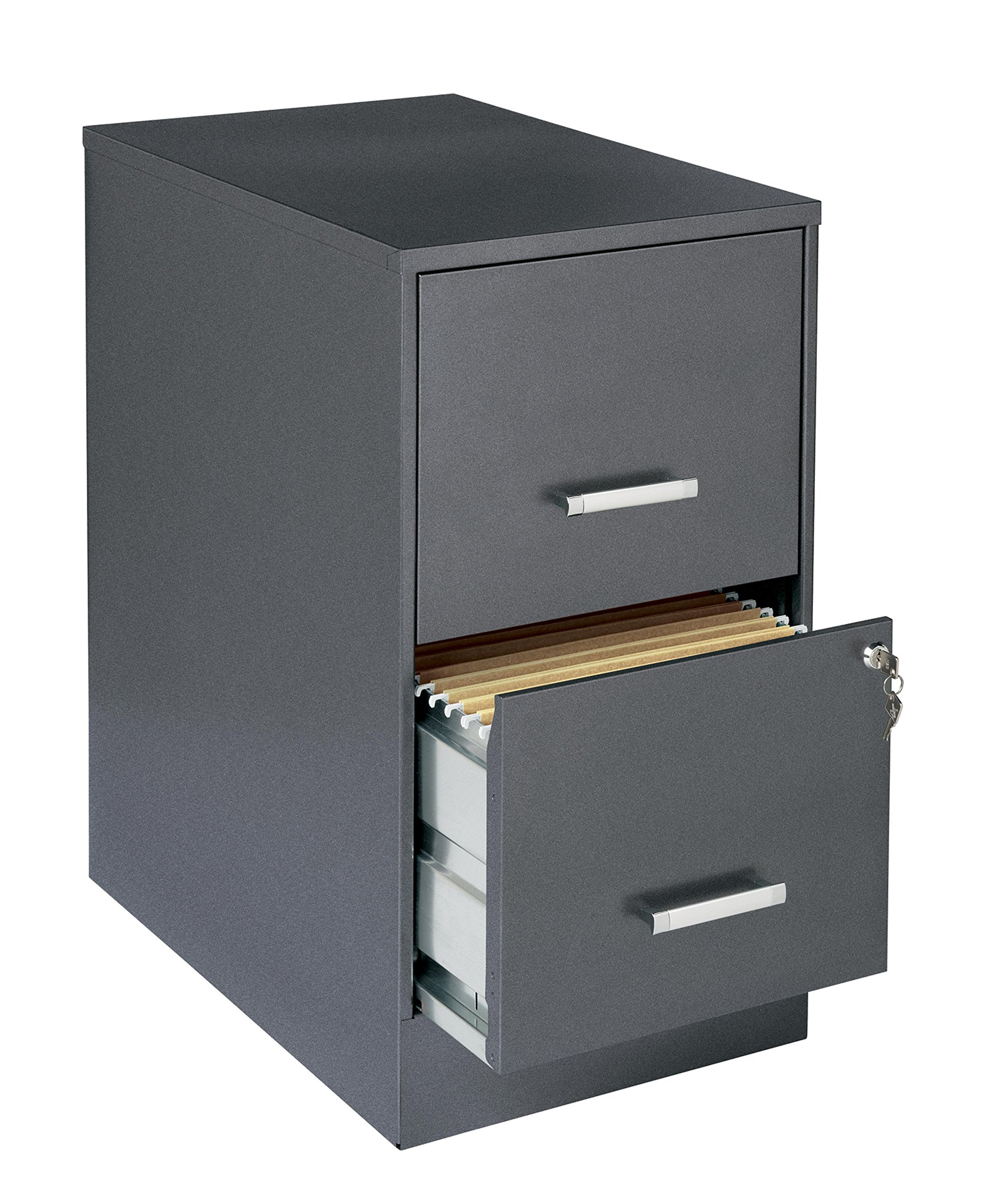 Office Designs Metallic Charcoal-colored 2-drawer Steel File Cabinet, Made From Steel For First Class Durability.