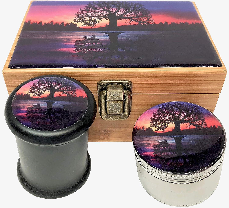 Blue Mandala Stash Box Combo - Large 4 Part Grinder 2.5 w/Glass stash jar Wood Stash Box Smell Proof Container (Blue Mandala)