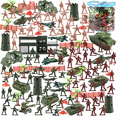 300Pcs 3-5cm Army Men Soldier Figures Military Base Playset Kids Toy Gift