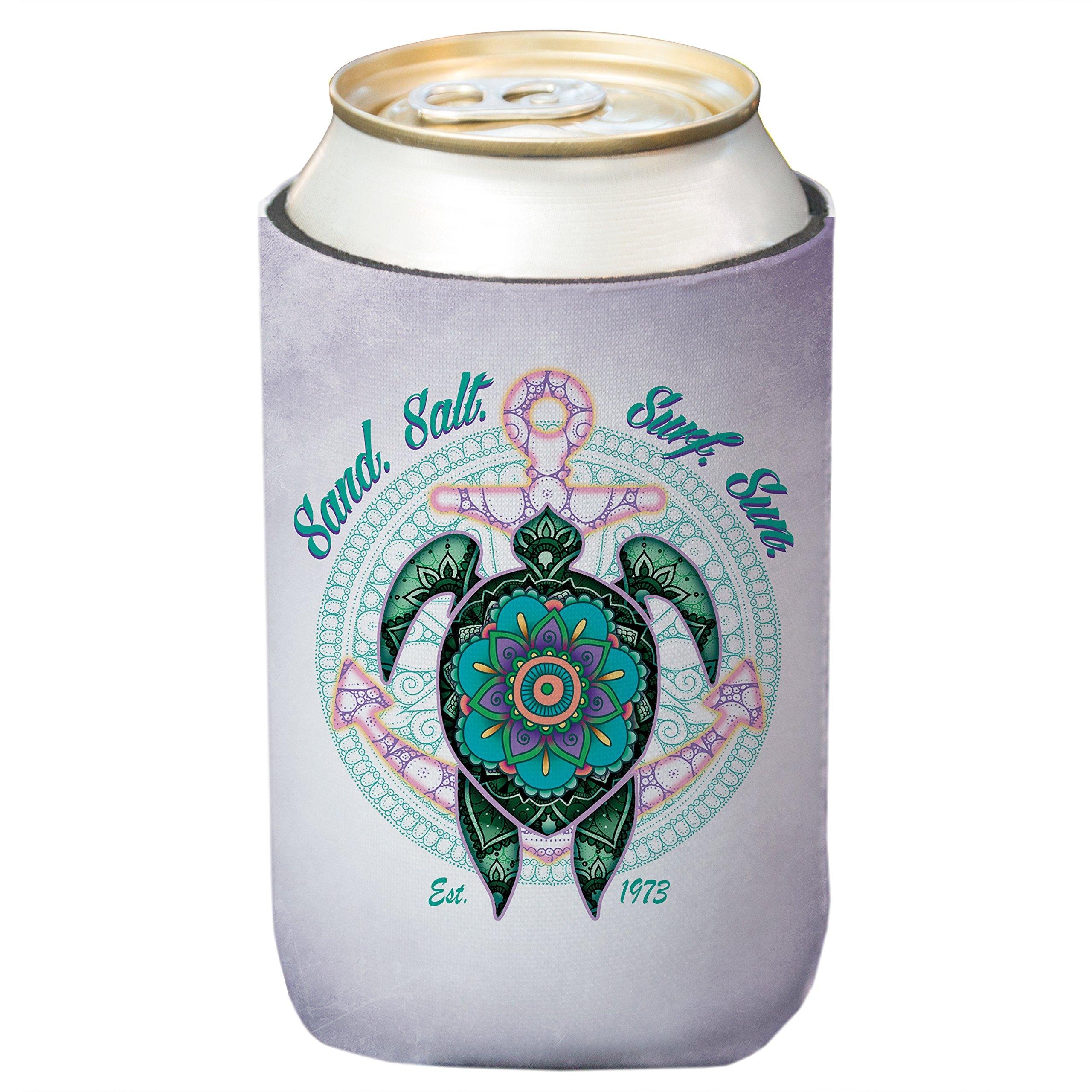SAND.SALT.SURF.SUN Mandala Turtle Standard Can Cooler (4-Pack)