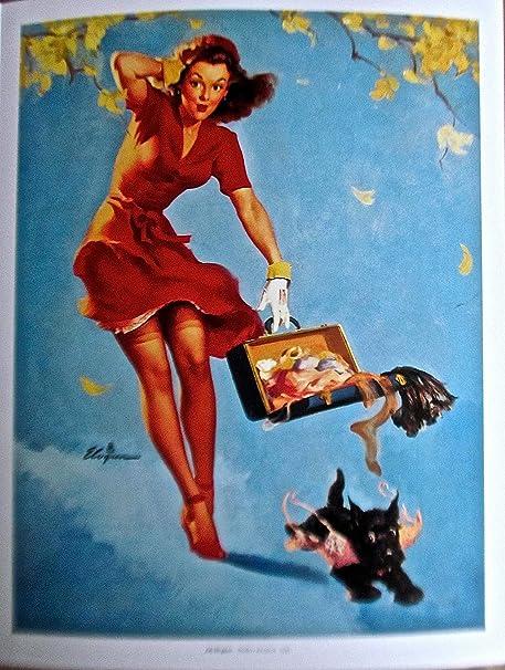Right Touch Gil Elvgren Pinup Girl Vintage Art Poster