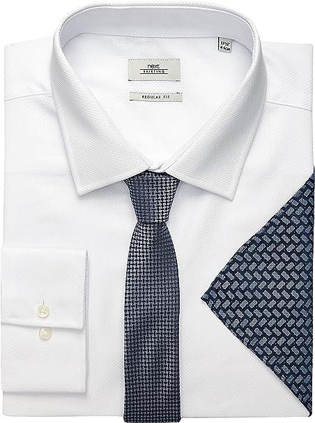 next Hombre Conjunto De Camisa, Corbata Y Pañuelo Blanco Regular ...