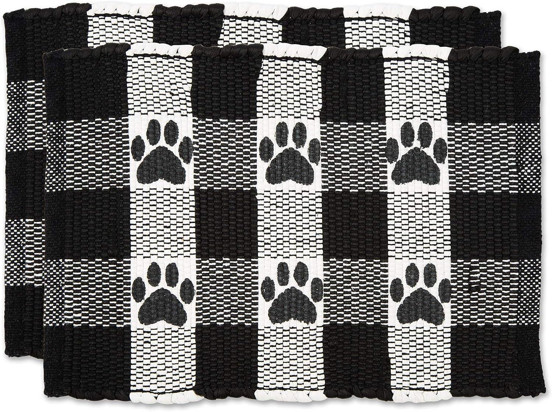 Bone Dry Pet Food Mats Collection Buffalo Check, 12x18, Black, 2 Piece