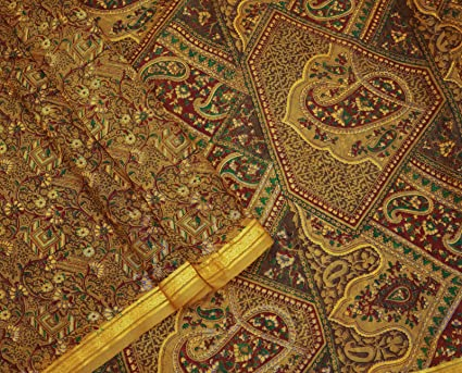 Indio saree Vintage pura seda estampado floral vestido amarillo hacer sari Fabric