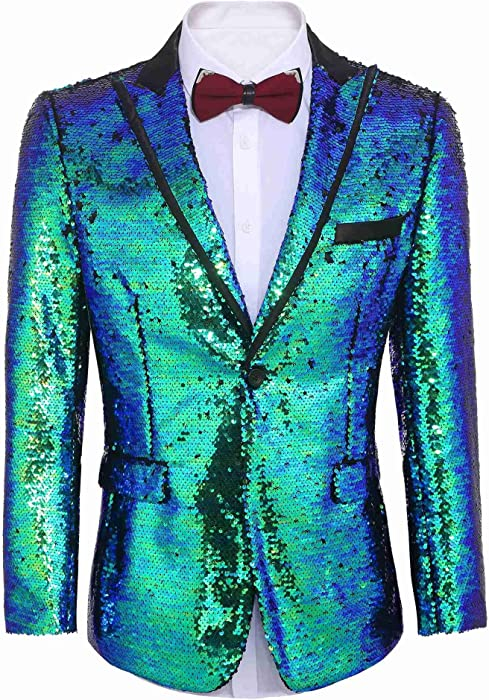 f660ac82979 Mens Suit Jacket Shiny Sequins One Button Tuxedo Slim Fit Blazer Coat for  Party Wedding Banquet Club