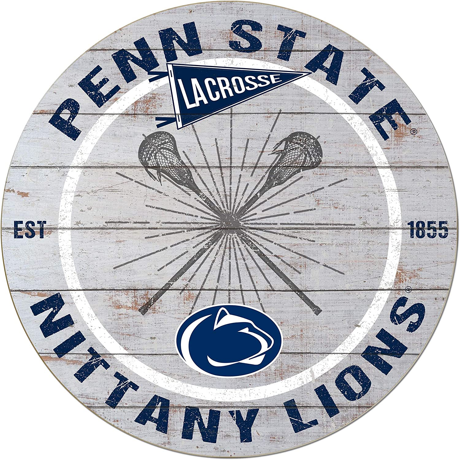 KH Sports Fan 20x20 Weathered Circle Throwback Penn State Nittany Lions Lacrosse