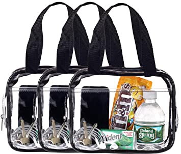 63d83c09e1b Amazon.com   Small Clear Handbag Purse Great for Work, Events, Makeup,  Cosmetics NFL Stadium Approved Sturdy Transparent Pocketbook Carry Bag (3  Pack)   ...