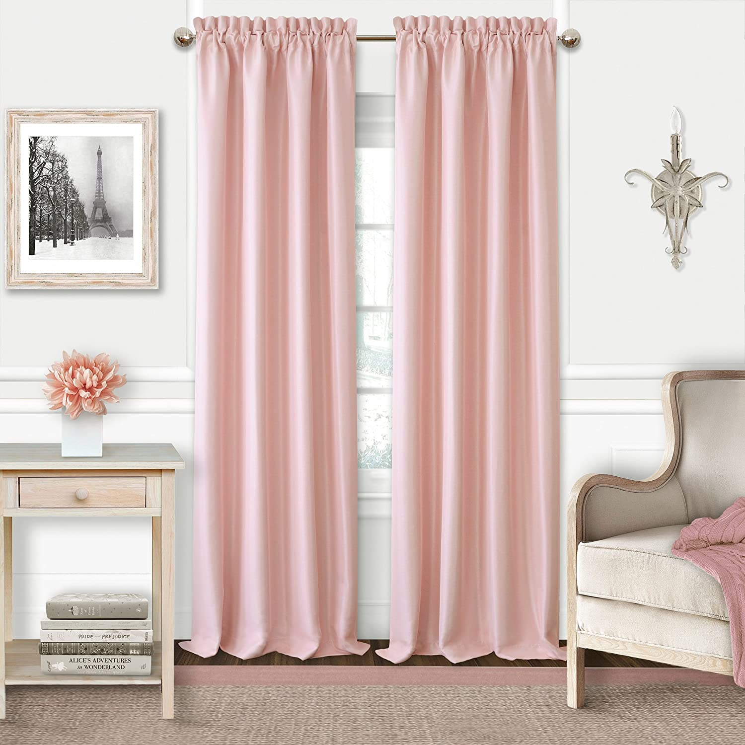 Lavender Elrene Adaline Kids Pastel Faux Silk Solid Color Blackout Room Darkening Thermal Insulating Window Curtain//Single Rod Pocket Panel by 52 Inch Wide X 84 Inch Long