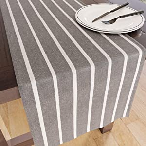 Encasa Homes Table Runner for 8-Seater Dining - Roma Grey - 14 x 104 inch - Rustic Farmhouse Decor Eco-Friendly Cotton, Decorative Homespun Plaid Cloth for Party, Restaurant & Outdoors
