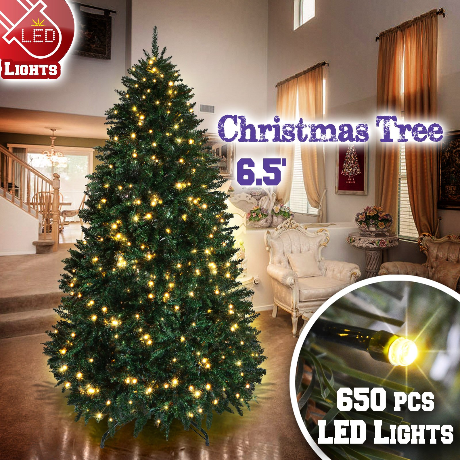 BenefitUSA 6.5 /7 /7.5ft Artificial Christmas Tree with Metal Stand Full Tree Xmas Holiday (6.5' with 650 Clear Lights and 1880 tips)