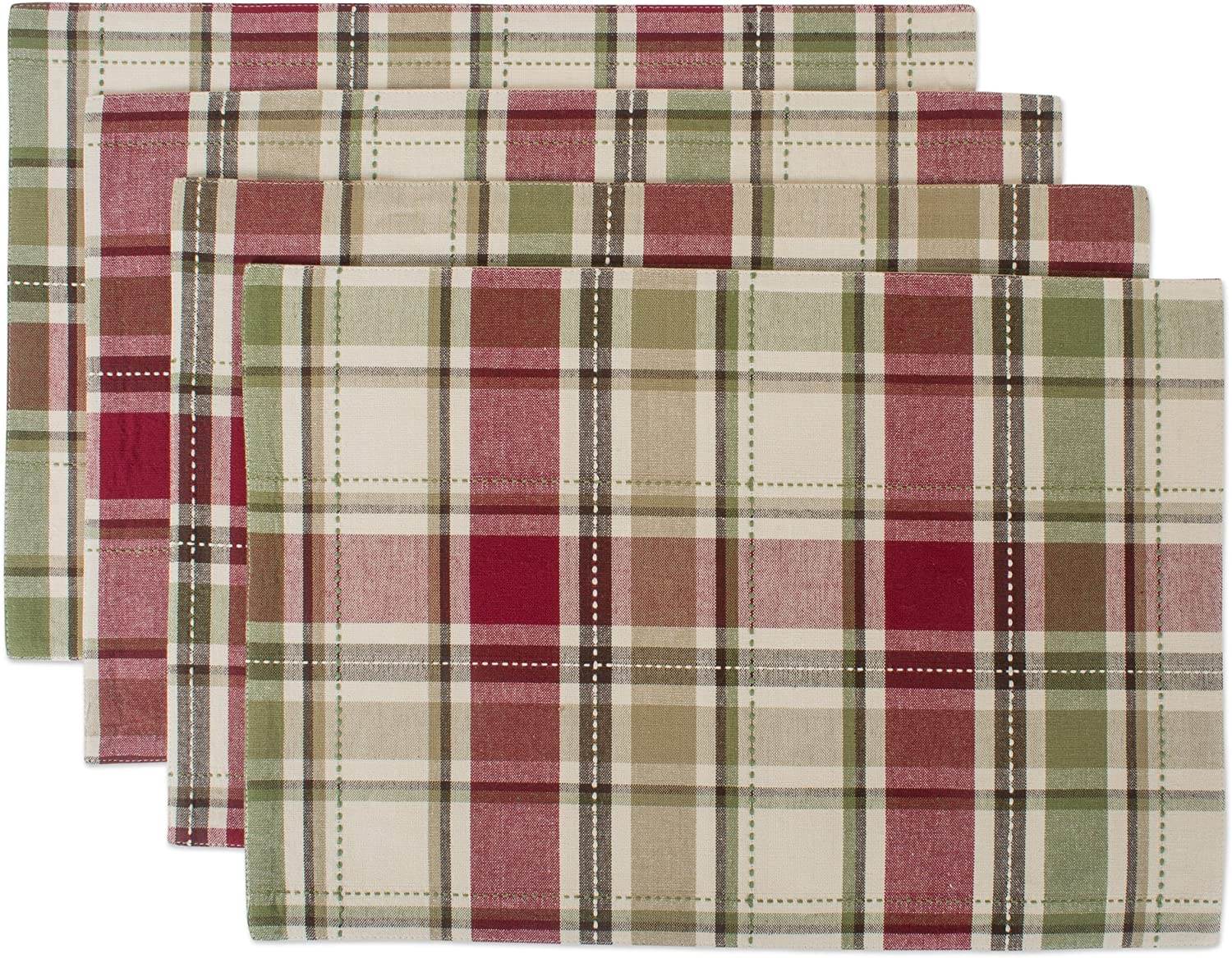 "DII Cotton Placemat, Perfect for Fall, Thanksgiving, Friendsgiving and Dinner Parties, 13""x19"", Homespun Plaid, 4 Pack"
