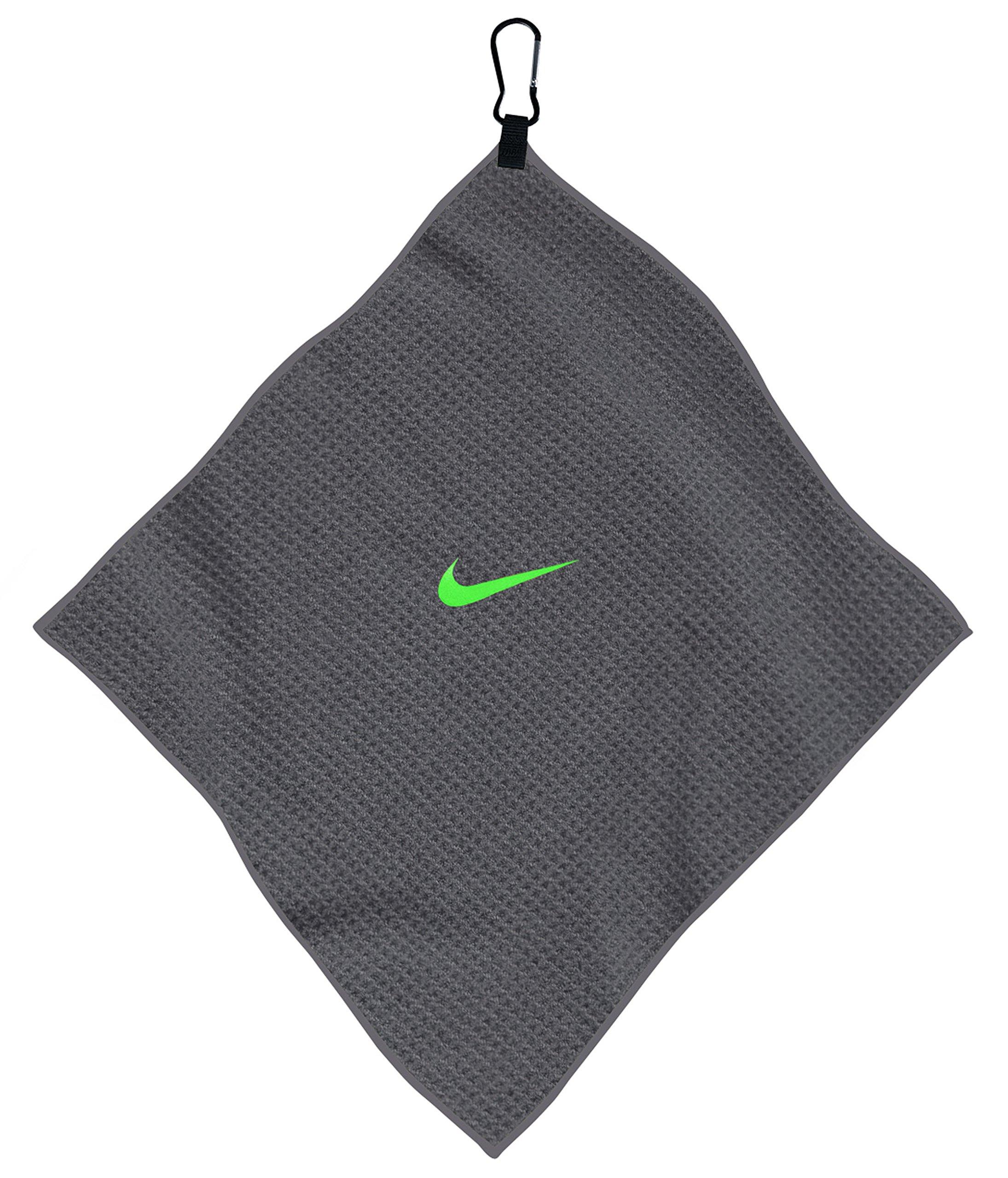 Nike 14 x 14 Microfiber Towel (Grey/Voltage Green)