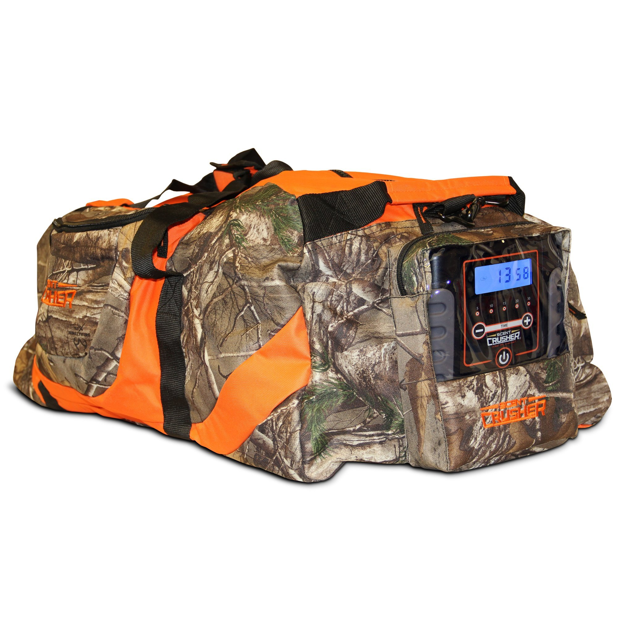 Scent Crusher Realtree Camo Gear Bag with Ozone Generator - Destroys Odors Within 30 mins, Use at Home or On The Way to The Field, Airport/TSA Compliant by Scent Crusher