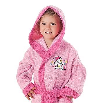 c627965d9ee6f Secaneta - Peignoir pour fille avec capuche et poches 100 % coton Motif  licorne 6 a