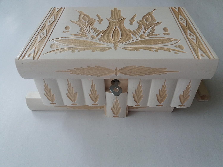 Nuevo gran caja puzzle de color blanco rompecabezas de madera, caja secreta, caja mágica, la caja de almacenaje de la joyería, caja de madera, caja tallada, regalo para la hija hermana: Amazon.es: