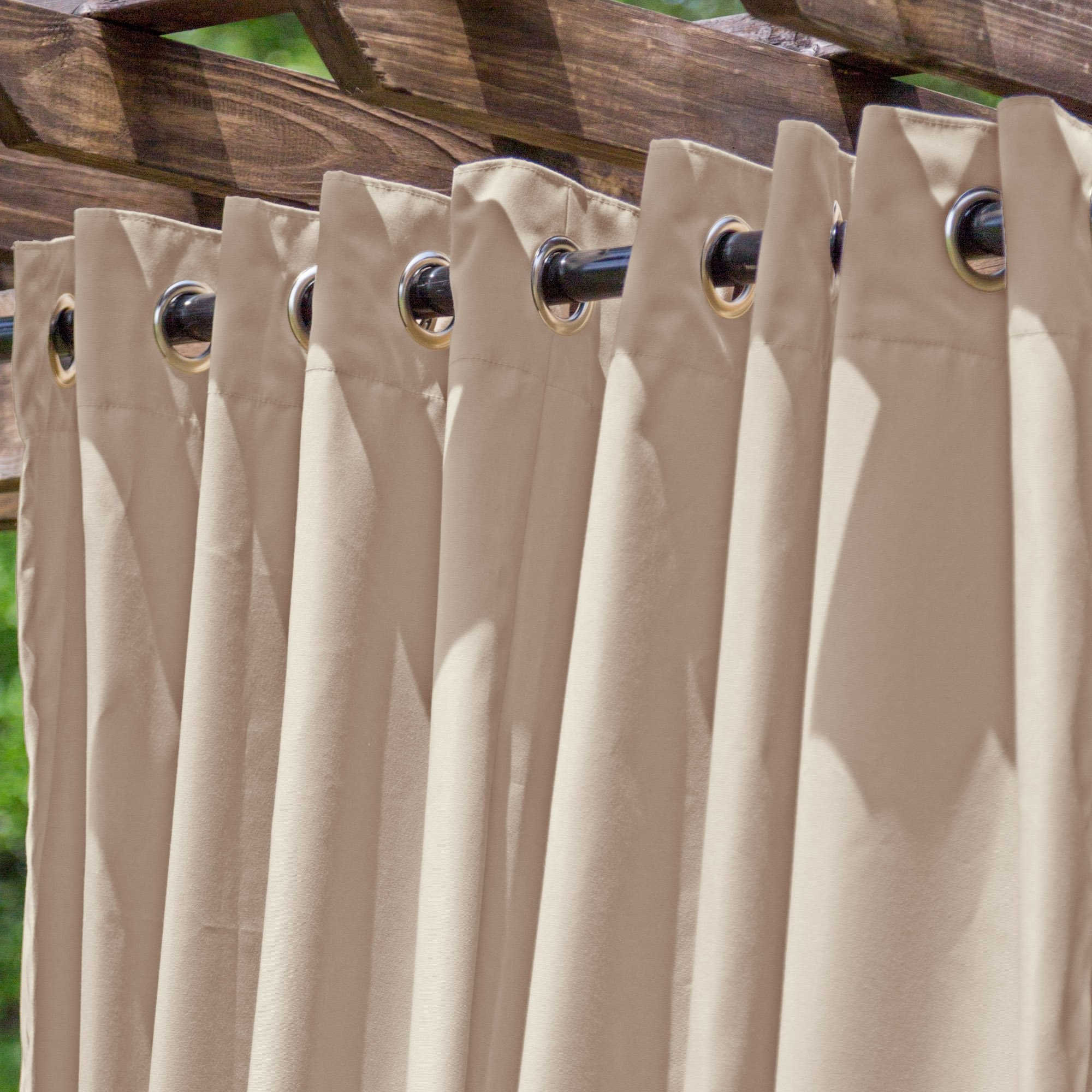 DFOHome Beige Extra Wide Outdoor Curtain with Nickel Grommets 120'' W x 96'' L