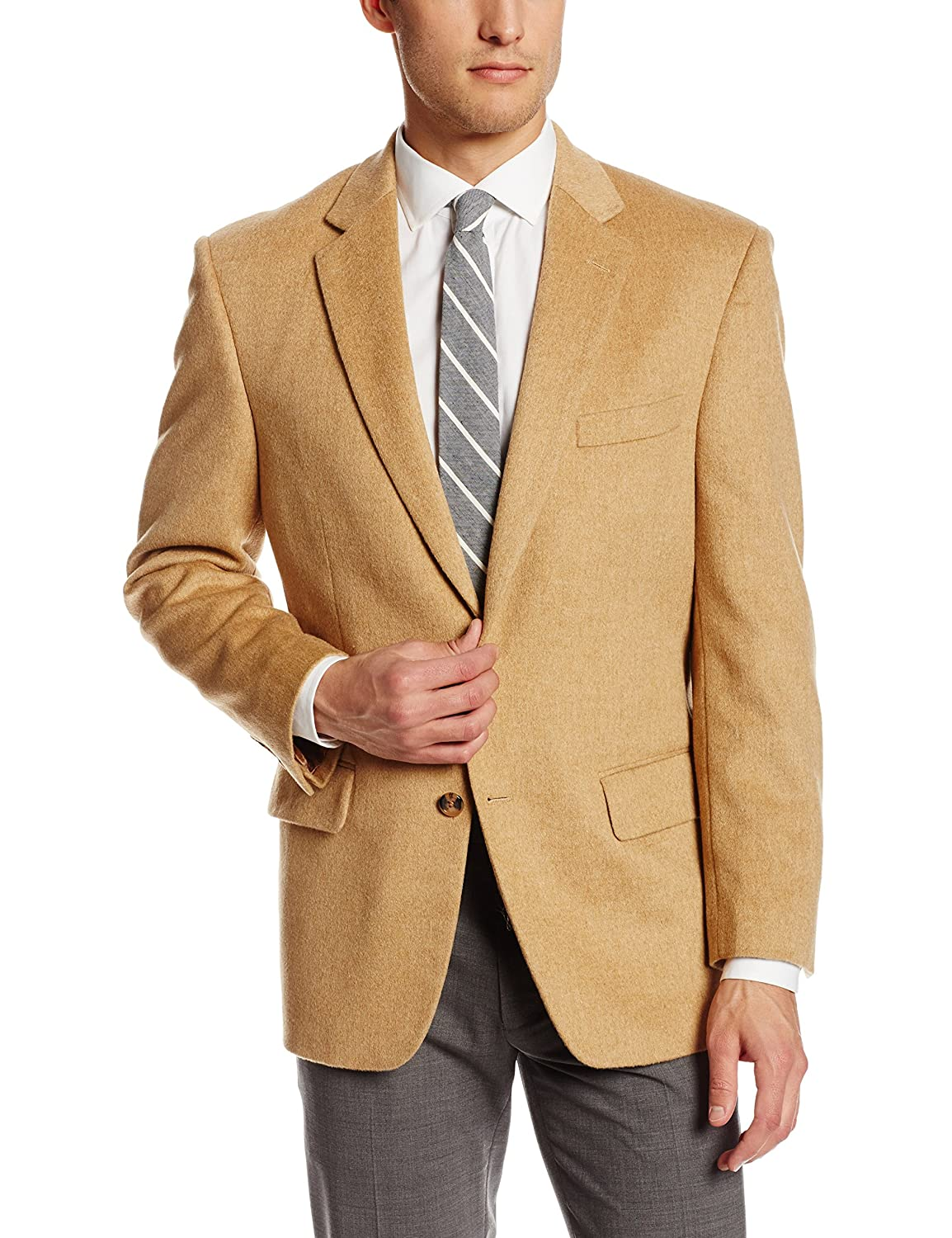 Men's 2 Button Luxury Wool Cashmere Camel Sport Coat at Amazon