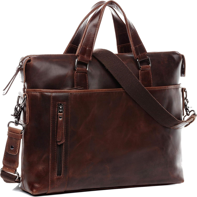 "BACCINI real leather laptop bag LEANDRO large business office work school shoulder bag 15 inch satchel briefcase 15.6"" men´s bag brown"