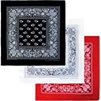 Basico Bandanas Value Pack 100% Cotton Paisley Head Wrap with Tube Face Mask/Headband