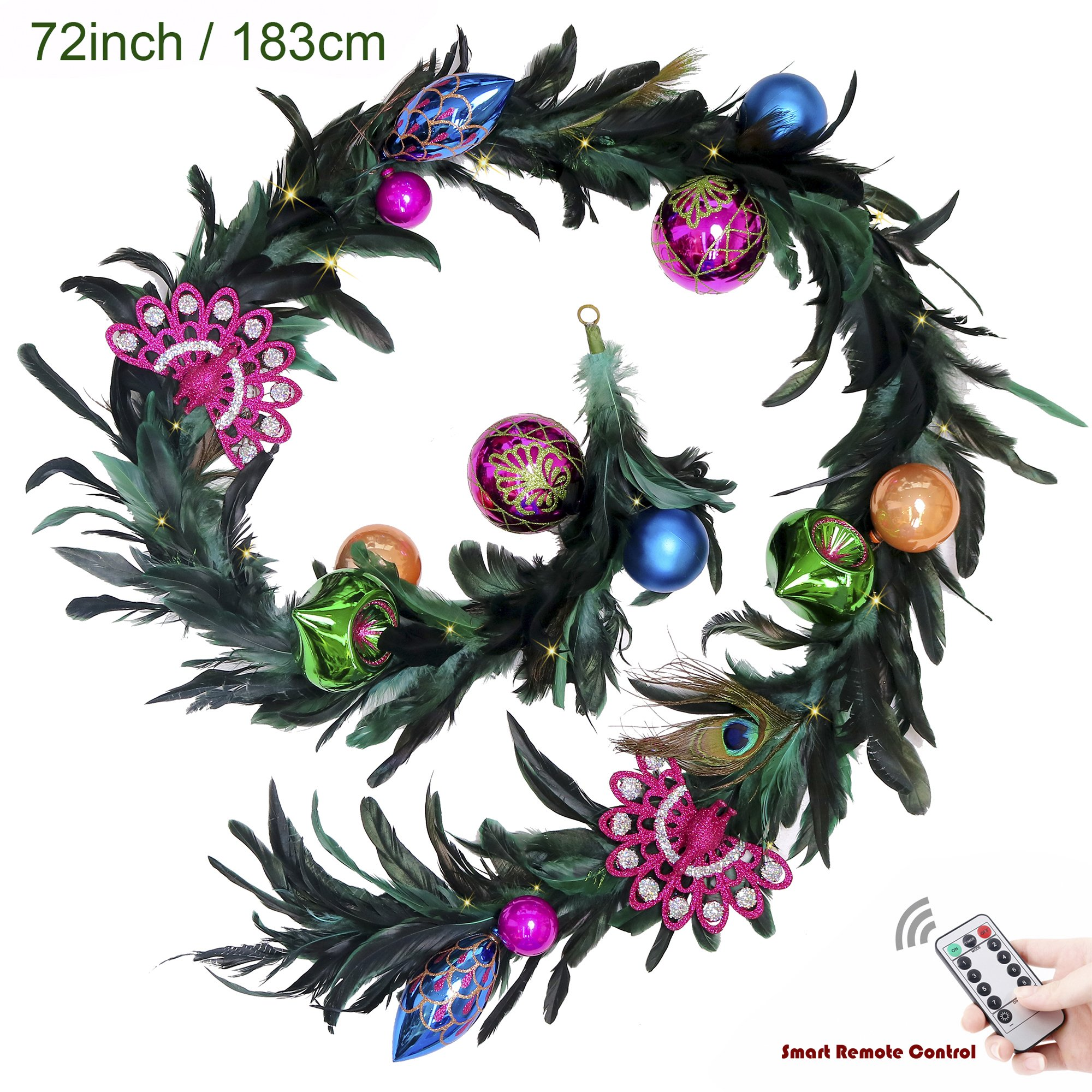 V&M VALERY MADELYN 6 Feet Decorative Balls & Peacock Feathers Garland for Wedding Party Garden Office Wall Decoration, Battery Operated 20 LED Lights with Remote and Timer