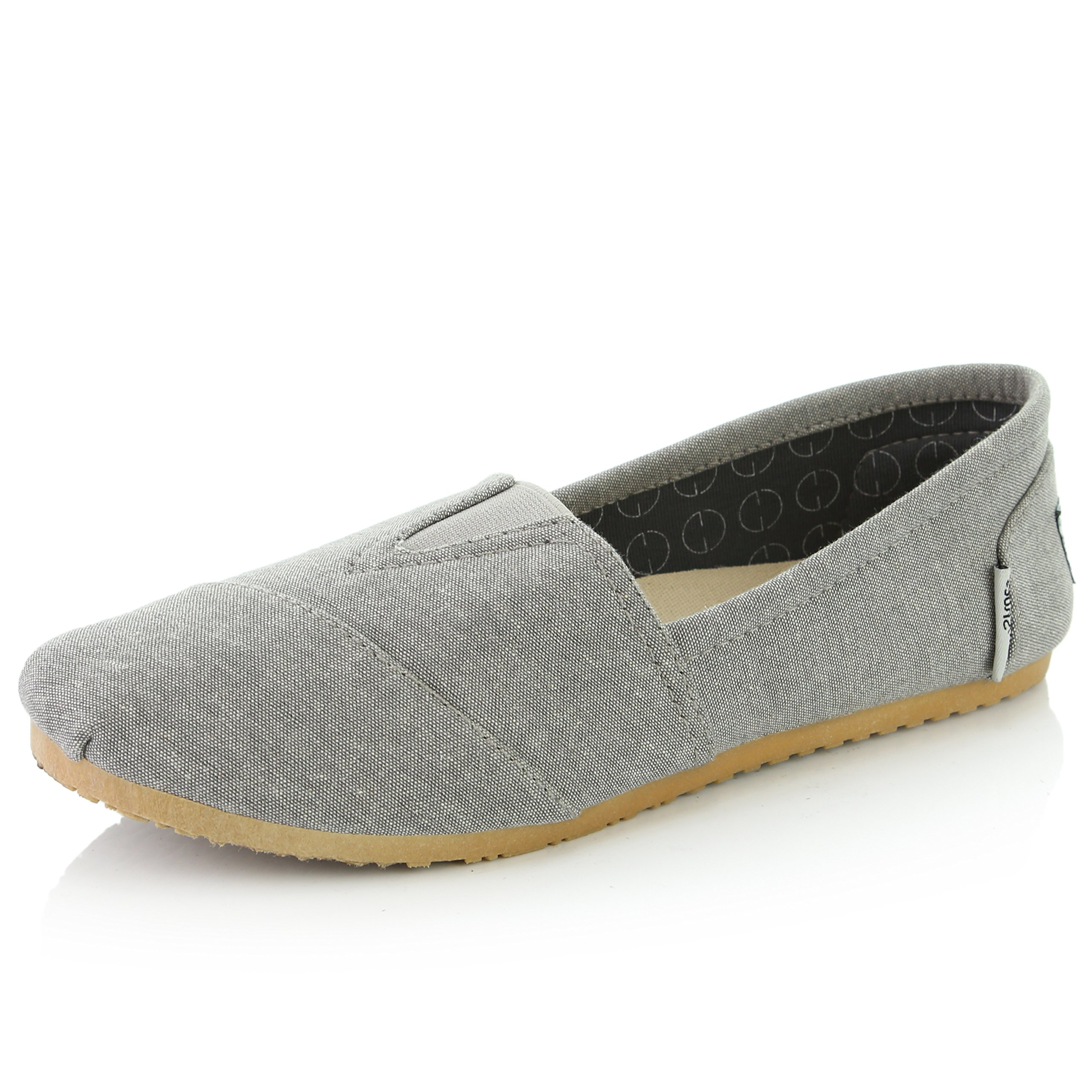 DailyShoes Women's Women Classic Flat Slip-On Comfort Loafer Sneaker Shoes with Raised Massage Surface Elastic Top Flats Shoe, Ash Grey Linen, 8 B(M) US