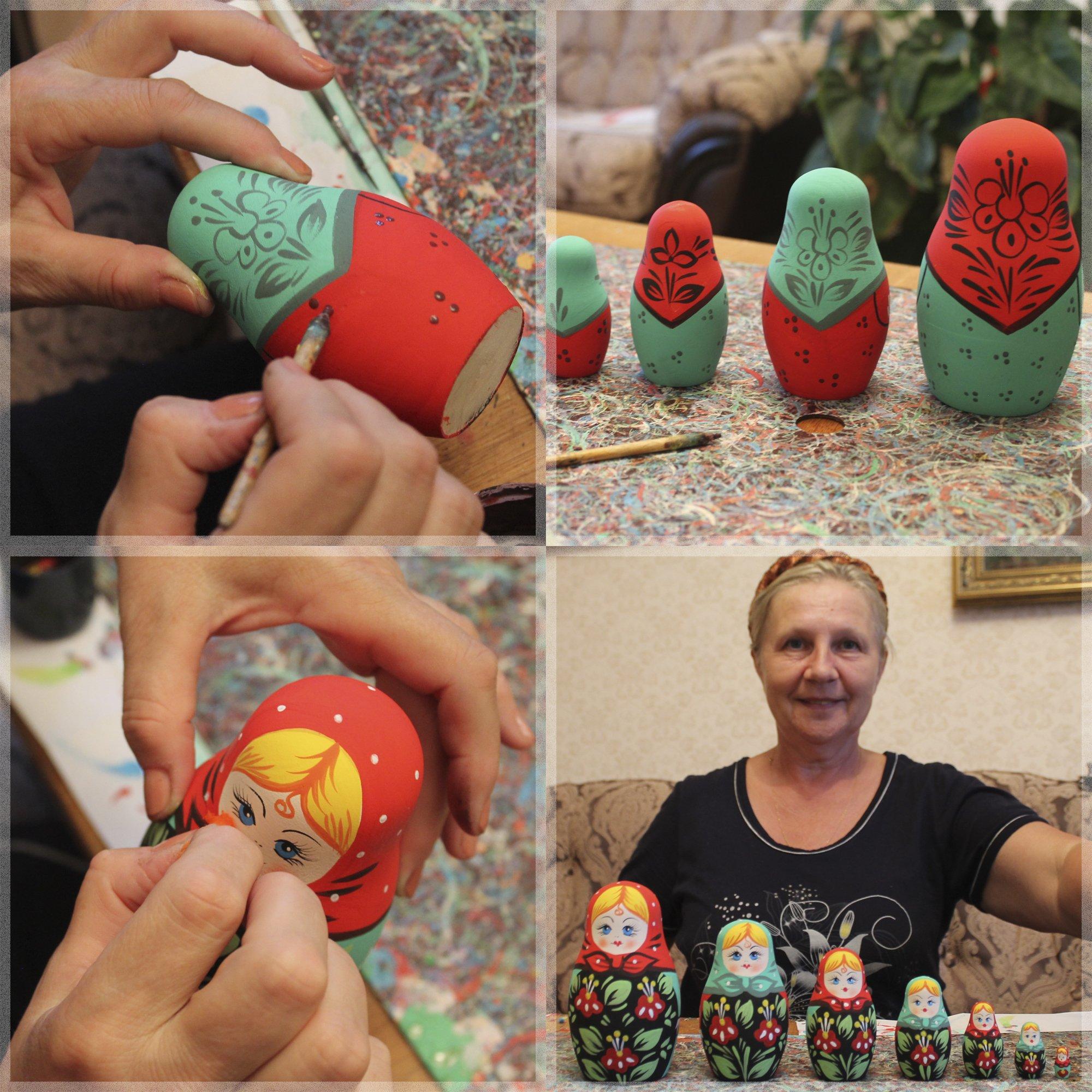 Lot 10 Unpainted Stacking Nesting Dolls Set 4 pcs - DIY Gifts by MATRYOSHKA&HANDICRAFT (Image #4)