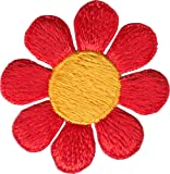 """Daisy Flower - Orange With Yellow Center 2"""" - Embroidered Sew or Iron on Patch"""