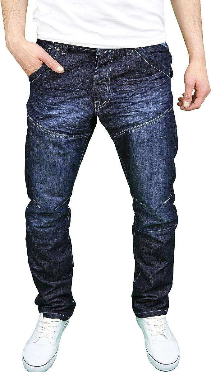 Mens Enzo Designer Regular Fit Straight Leg Denim Jeans Blue Casual