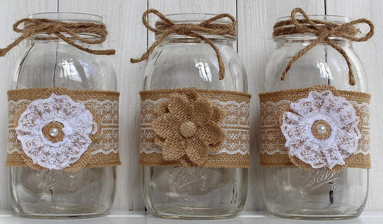 Mason Jar Centerpieces 3 Piece Quart Burlap Mason Jars Country Chic Mason Jars Wedding Centerpieces Farmhouse Decor