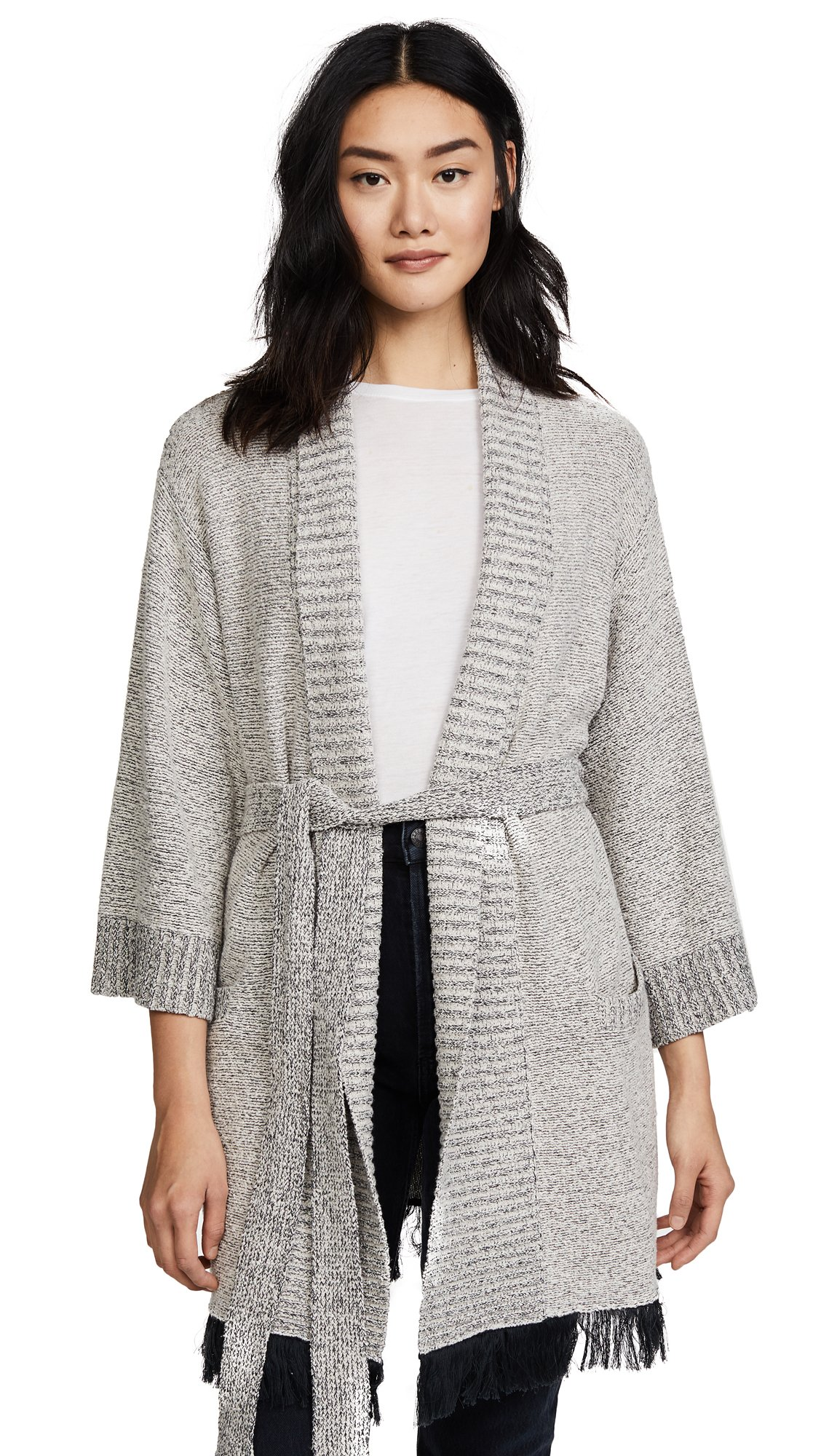 Skin Women's Cozy Boucle Robe, Ivory, 3