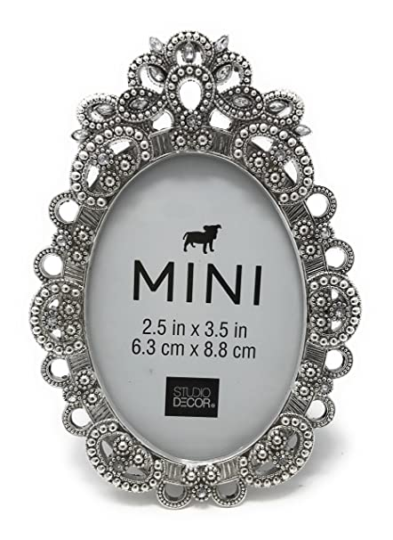 Amazon Bejeweled Oval Silver Tone Metal Mini Picture Frame