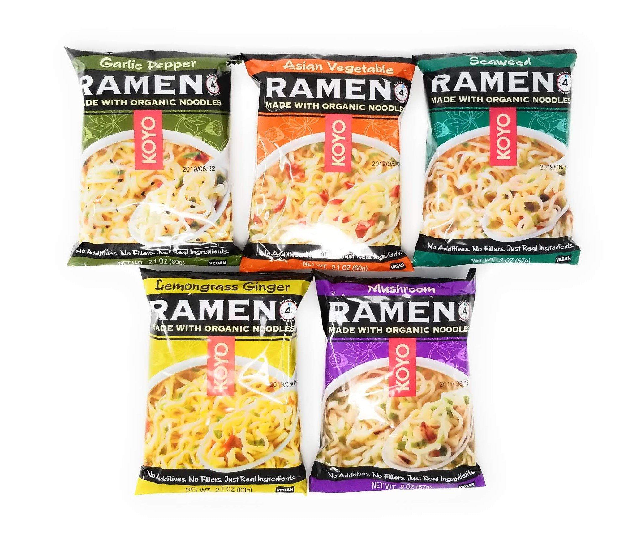 Koyo Ramen Variety Bundle - Made with Organic Noodles - Vegan Meal - Asian Cuisine - 10 Pack - 2 Of Each (Mushroom, Seaweed, Tofu Miso, Garlic Pepper, Lemongrass Ginger) In Anytime Sunshine Box