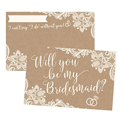 Amazon Com 15 Will You Be My Bridesmaid Cards Kraft Lace I Can T