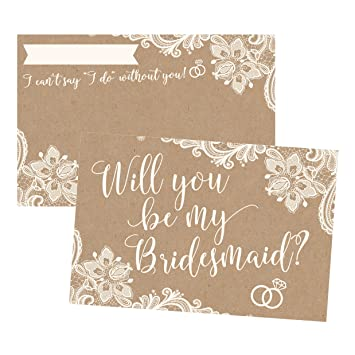 Amazoncom 15 Will You Be My Bridesmaid Cards Kraft Lace I Can