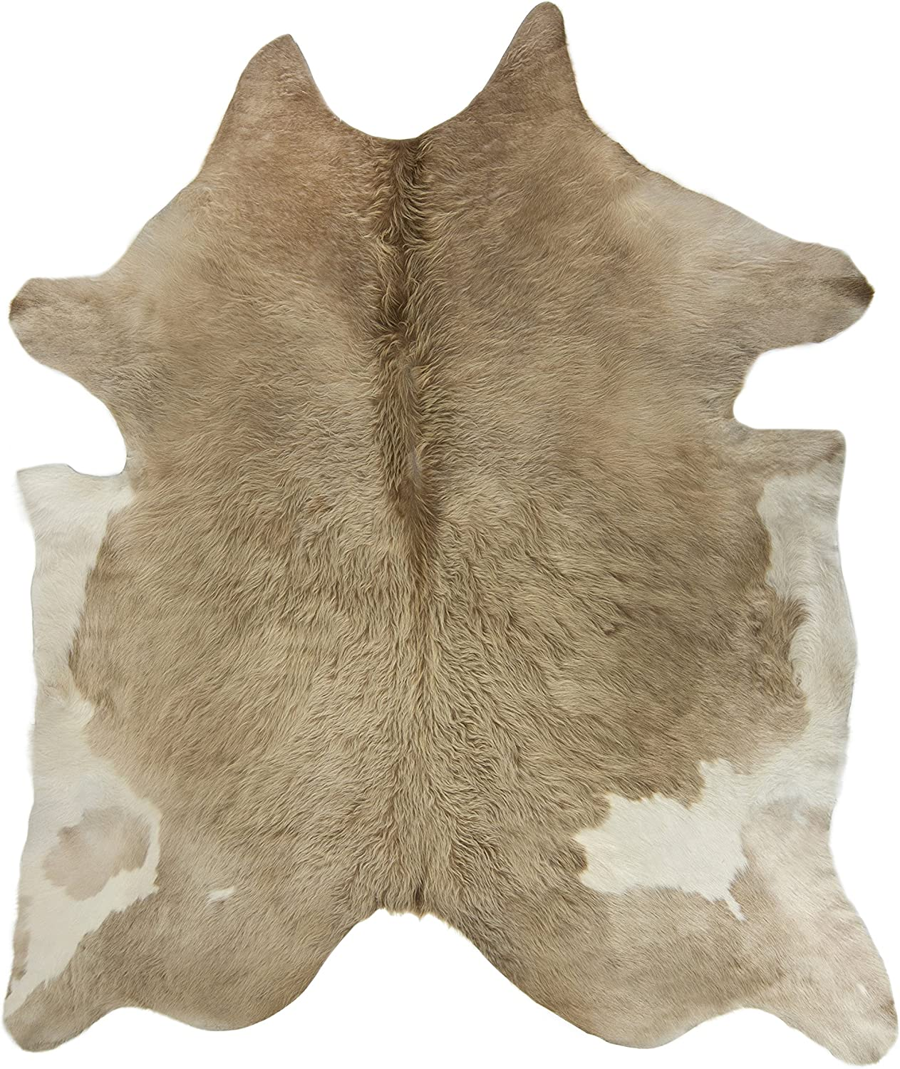 Crown Home Innovations | Brazilian Cowhide Area Rug | 100% Authentic Natural Leather | Unique Stylish Decorative Accent | No Smell or Shedding | Color, Buttercream | Size, 6'x 7'