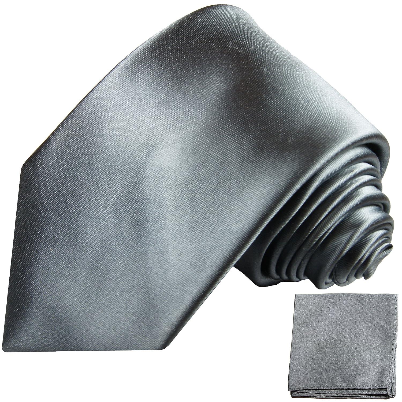 P.M. Krawatten Paul Malone Corbata de seda gris plateado + pañuelo ...