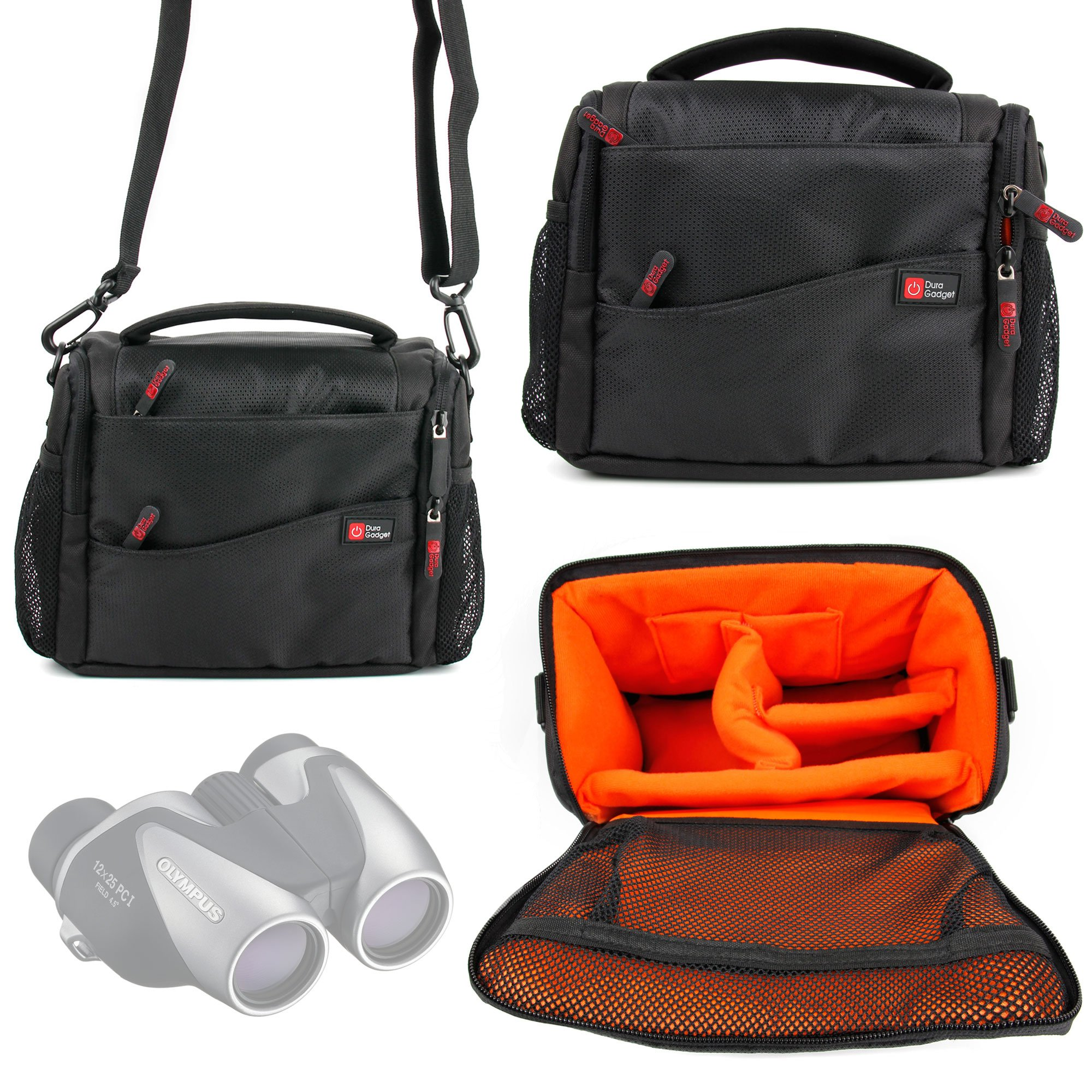 DURAGADGET Shock-Absorbing & Water-Resistant Carry Bag in Black & Orange Compatible With the Celestron ECLIPSMART 10X25 SOLAR