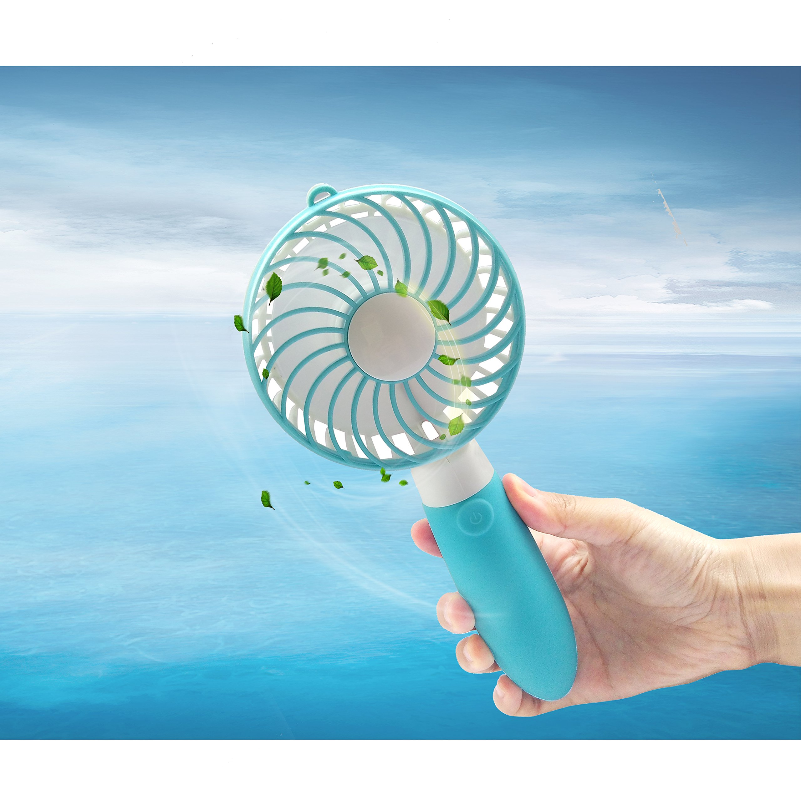 Haraqi Handheld Fan Mini USB Fan Electric Personal Portable Handfan with Rechargeable Battery Adjustable 3 Speeds Outdoor Fan for Home Travel … (Blue)