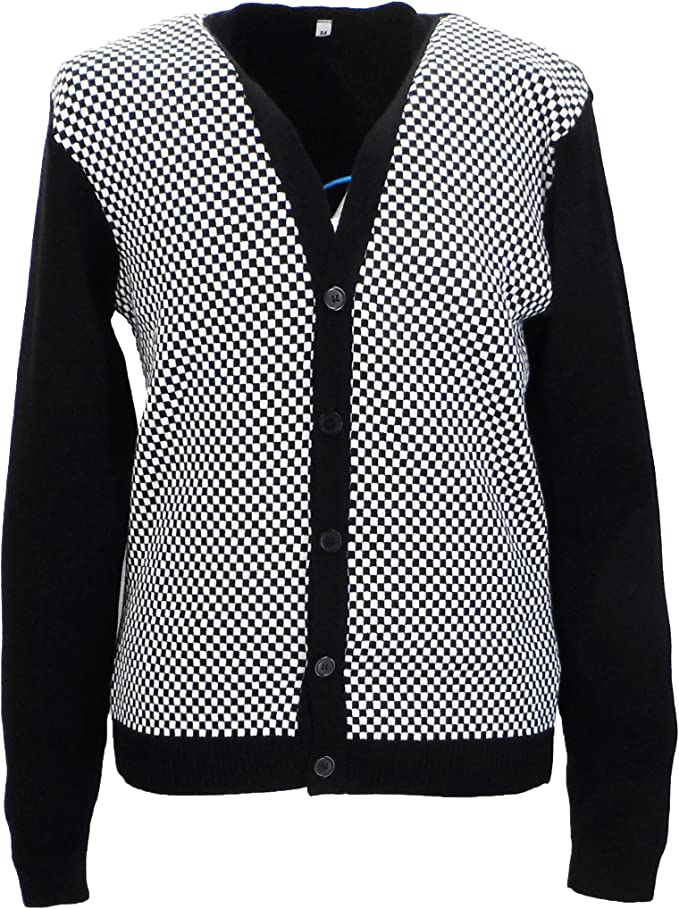 Men's Vintage Sweaters, Retro Jumpers 1920s to 1980s Relco Classic Retro Black and White Checkerboard Cardigan £24.99 AT vintagedancer.com