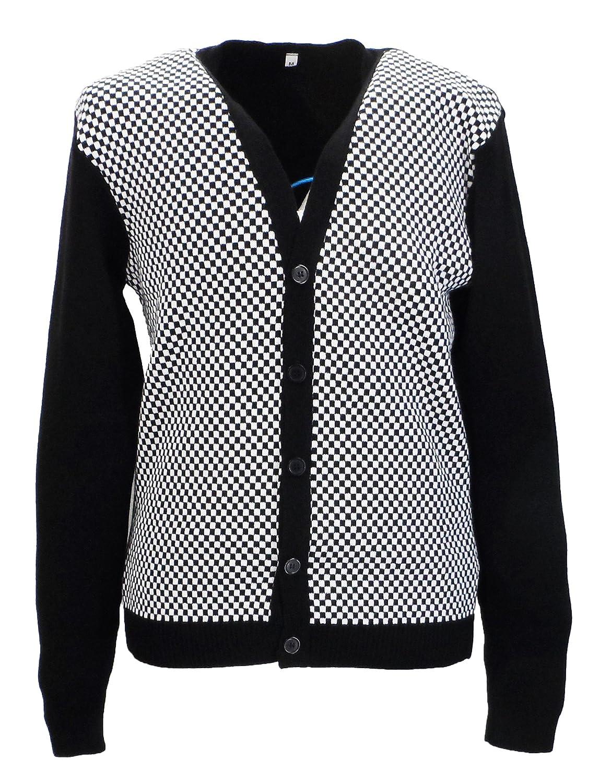 Classic Retro Black and White Checkerboard Cardigan