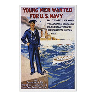 US Navy - Young Men Wanted - Vintage Advertisement (Premium 1000 Piece Jigsaw Puzzle for Adults, 20x30, Made in USA!): Toys & Games
