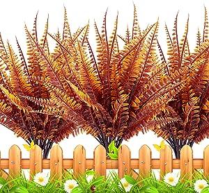 TURNMEON 18 PCS Artificial Plants Greenery, Fake Boston Fern Bush Plant Bushes Faux Outdoor UV Resistant Daffodils Greenery Shrubs Plants Indoor Outside Hanging Planter Home Garden Decor (Orange)