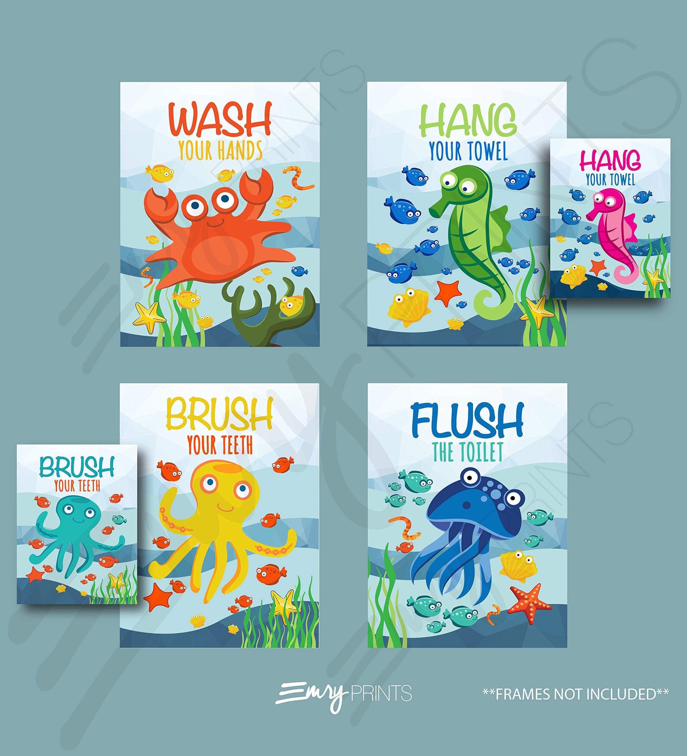 Ocean Bathroom Art Prints (Set of 4) (Unframed) 8x10 - Underwater Bathroom Wall Art Prints Children's Underwater Bathroom Ocean Theme Bathroom Wall Art 8x10 (Brush Flush Hang & Wash)