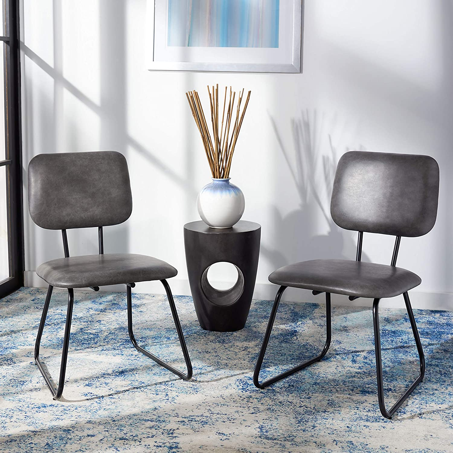 Safavieh Home Collection Chavelle Modern Faux Leather Side Chair (Set of 2) ACH6205F-SET2, Grey/Black