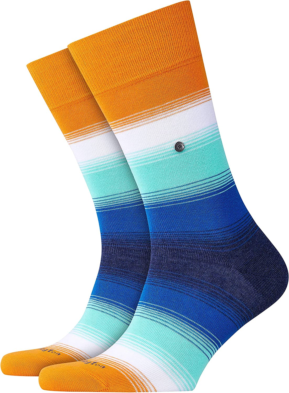 1 Paar Farben BURLINGTON Herren Socken Ombre Stripe Versch - Modisch bunt gestreifter Herrenstrumpf in Regenbogenfarben 82/% Baumwolle Einheitsgr/ö/ße 40-46