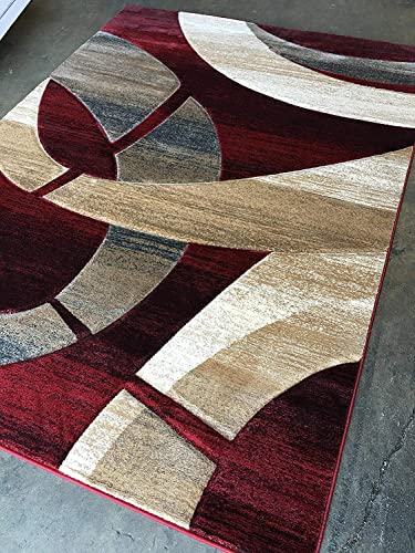 Sculpture Modern Area Rug Red Burgundy Design 248 8 feet X 10 feet 6 inches