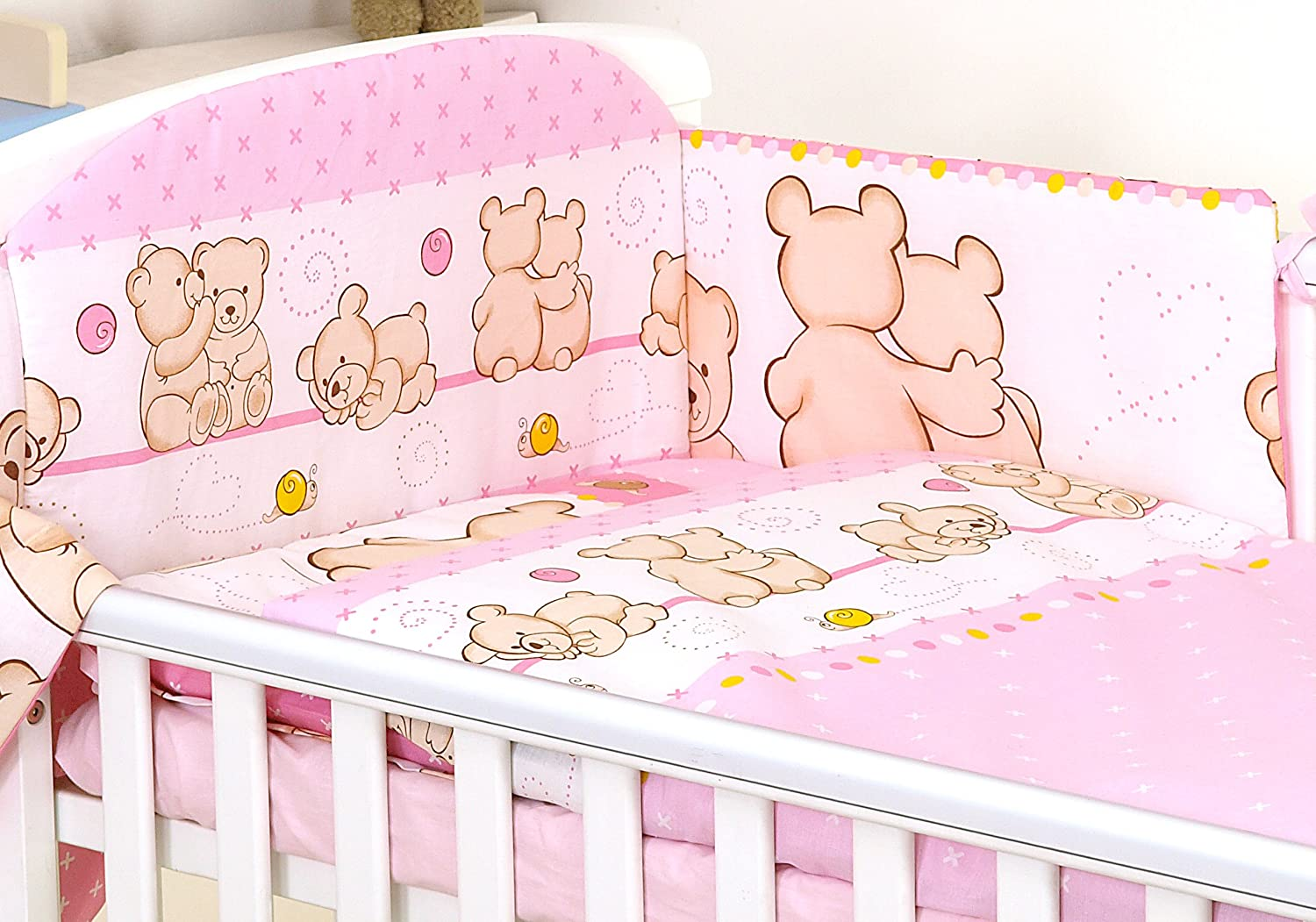 3 pc set PINK FRIENDS TEDDY BEAR PATTERN inc DUVET COVER-PILLOW CASE-BUMPER - FOR COT 120X60 OR COT BED 140X70 (COT 120X60) SCANDI BEDDING LIMITED