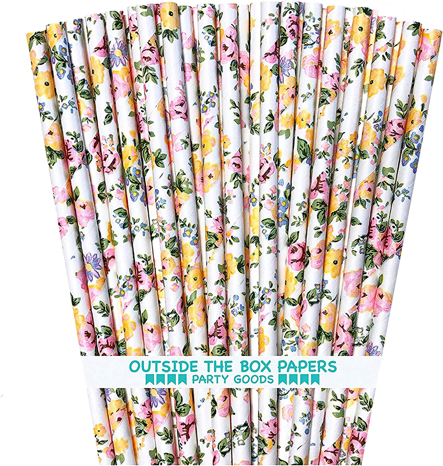 Rose Floral Paper Straws - Pink Yellow White - 7.75 Inches - 100 Pack - Outside the Box Papers Brand